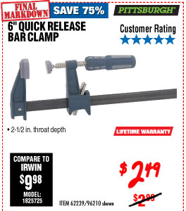 6 in. Quick Release Bar Clam