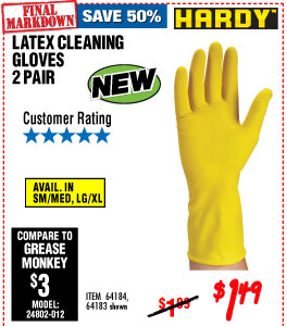 Latex Cleaning Gloves - 2 Pair L/XL