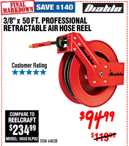 3/8 in. x 50 ft. Professional Retractable Air Hose Reel