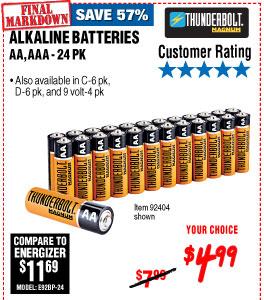 AA Alkaline Batteries 24 Pk
