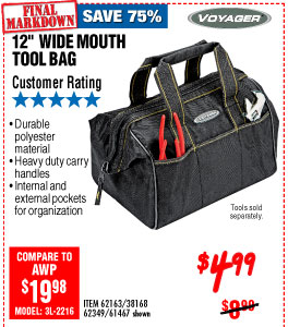 12 in. Wide Mouvth Tool Bag