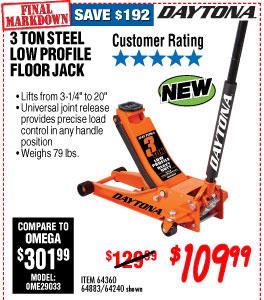 3 ton Steel Heavy Duty Low Profile Floor Jack with Rapid Pump® -  Orange