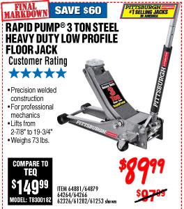 3 ton Low Profile Steel Heavy Duty Floor Jack with  Rapid Pump®