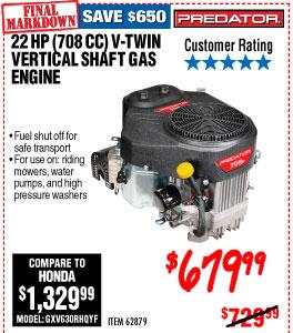 708cc 22 HP V-Twin Riding Mower Engine - EPA