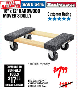 AA 18 In. x 12 In. 1000 lbs. Capacity Hardwood Dolly