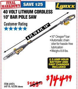 40V Lithium Cordless Pole Saw