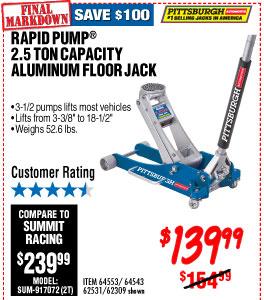 2.5 Ton Aluminum Racing Floor Jack with RapidPump®