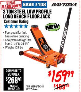 3 ton Long Reach Low Profile Steel Heavy Duty Floor Jack with Rapid Pump®