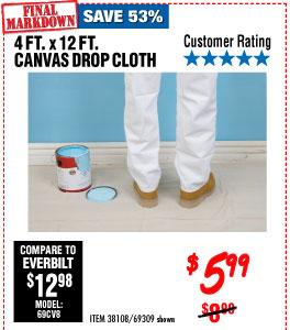 4 Ft. x 12 Ft. Canvas Drop Cloth