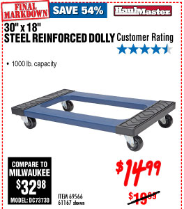 30 In x 18 In 1000 lbs. Capacity Polypropylene Dolly