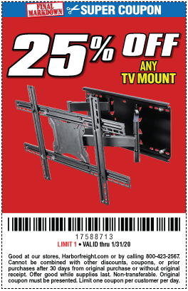 25% off any TV Mount