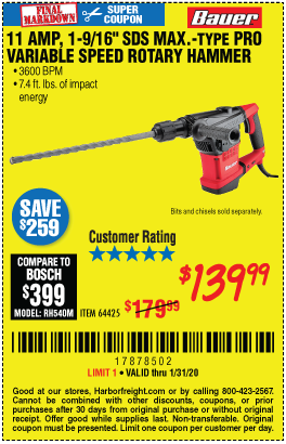 11 Amp 1-9/16 in. SDS Max-Type Pro Variable Speed Rotary Hammer