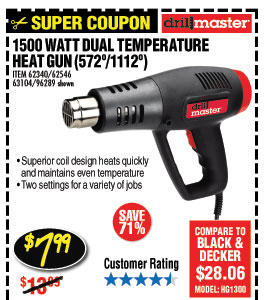 1500 Watt Dual Temperature Heat Gun 572°/1112°