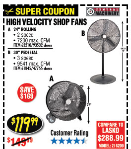 30 in. Pedestal High Velocity Shop Fan - 24 in. High Velocity Shop Fan