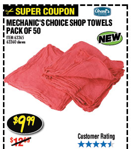 Mechanic's Shop Towels 14x13 50 Pk.