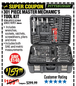 301 Pc Professional Mechanic's Tool Set