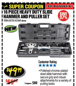 Heavy Duty Slide Hammer and Puller Set 16 Pc