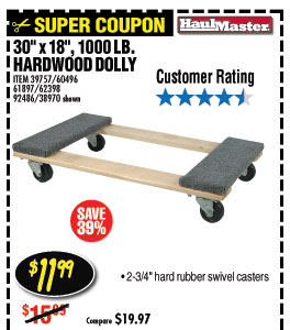 30 In x 18 In 1000 lb. Capacity Hardwood Dolly