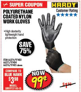 Polyurethane Coated Nylon Work Gloves