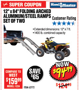 1400 Lbs. Capacity 12 in. x 84 in. Folding Arched Aluminum/Steel Loading Ramps, Set of Two