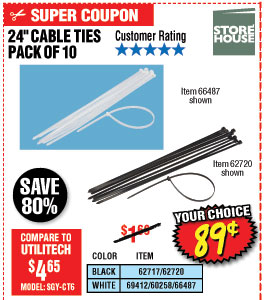 24 in. Heavy Duty Cable Ties 10 Pk