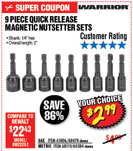 Quick Release Magnetic Nutsetter Set 9 Piece