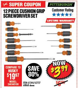 12 Pc Cushion Grip Screwdriver Set
