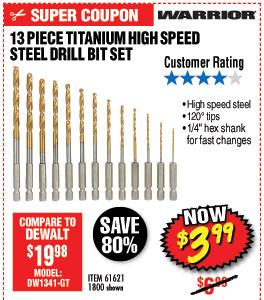 Titanium High Speed Steel Drill Bit Set 13 Pc