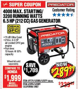 4000 Max Starting/3200 Running Watts, 6.5 HP  (212cc) Generator