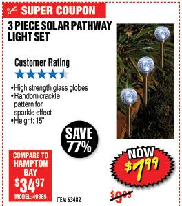 3 Piece Solar Glass Crackle Ball Pathway Light Set