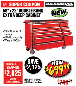 56 in. x 22 In. Double Bank Red Roller Cabinet