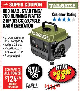 900 Max Starting/700 Running Watts, 2 HP  (63cc) 2 Cycle Gas Generator