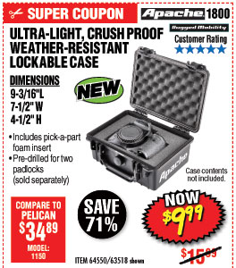 1800 Watertight Protective Case  –  9-3/16 In.
