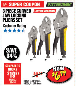 3 Pc Curved Jaw Locking Pliers Set
