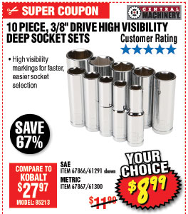 10 Pc 3/8 in. Drive SAE High Visibility Deep Socket