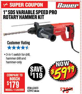 1 in. SDS Variable Speed Pro Rotary Hammer Kit