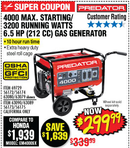4000 Max Starting/3200 Running Watts, 6.5 HP  (212cc) Generator EPA III with GFCI Outlet Protection