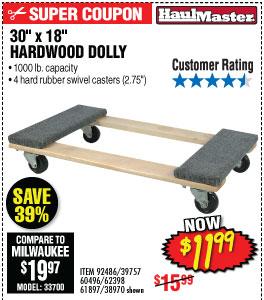 130 In x 18 In 1000 lbs. Capacity Hardwood Dolly