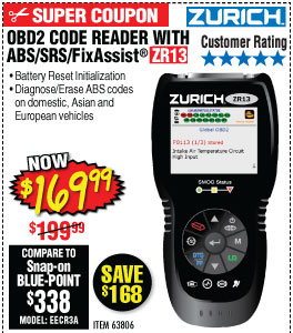 ZR13 OBD2 Code Reader with ABS/SRS/FixAssist