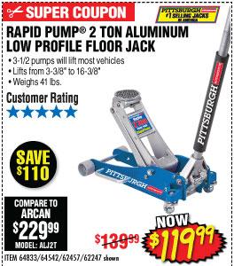 2 Ton Low Profile Aluminum Racing Floor Jack with Rapid Pump