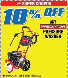 10% off Predator Pressure Washers