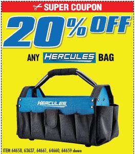 20% off Hercules bags