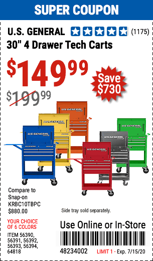 30 in. 4 Drawer Tech Carts