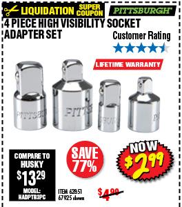 4 Pc High Visibility Socket Adapter Set