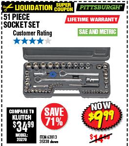 51 Pc SAE & Metric Socket Set