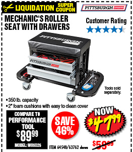 Mechanic's Roller Seat with Drawers