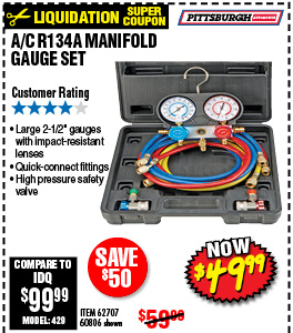A/C R134A MANIFOLD GAUGE SET