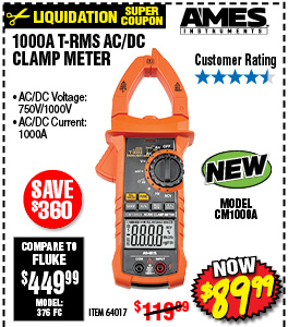 1000A T-RMS AC/DC Clamp Meter