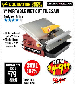 7 in. Portable Wet Cut Tile Saw