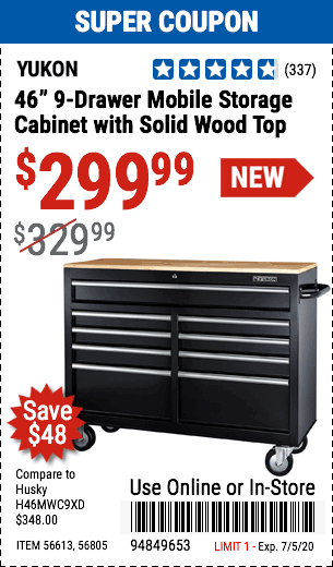 46 in.  9-Drawer Mobile Storage Cabinet with Solid Wood Top